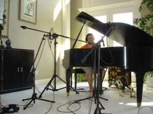 This was during our recording session Saturday.  We recorded at my parent's house on the baby grand piano I learned piano on.