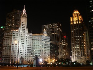 The Wrigley Building (on the left) and the Chicago Tribune Tower (on the right)