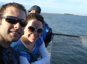 My Sister Ashley and I in front of the Statue of Liberty
