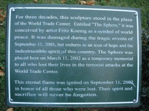 The Sphere Monument Description in New York City Battery Park